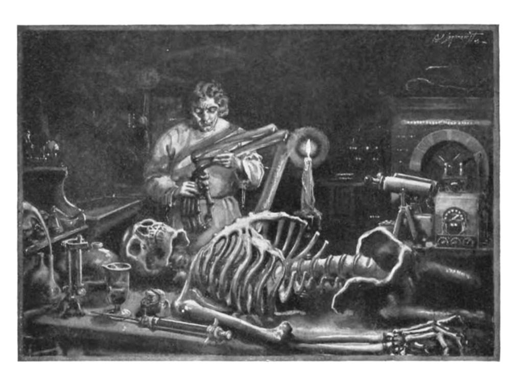 Victor Frankenstein works on his creature.