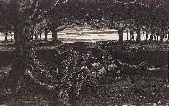 Woodcarving from the interior of The Book of Werewolves by Sabine Baring Gould